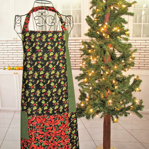 Black, Red & Green Holly Holiday Reversible Bib Apron w/Adjustable Neck Strap