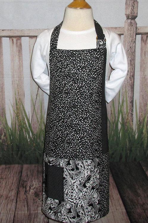 Black & White Abstract Reversible Kids Bib Apron w/Neck Strap