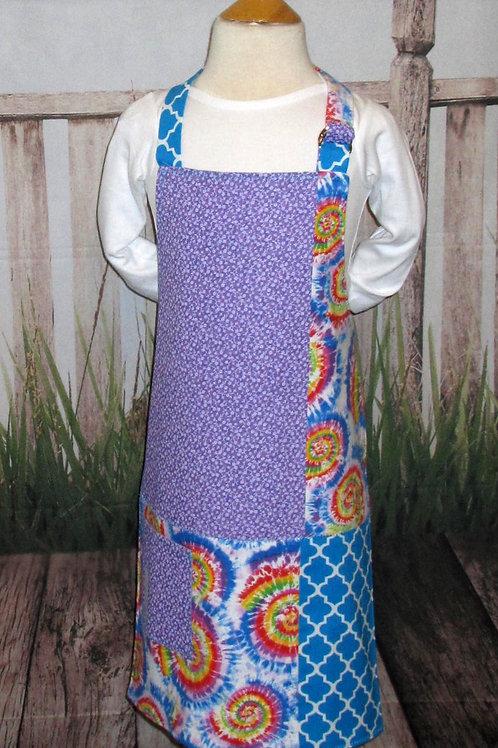 Purple & Blue Reversible Kids Bib Apron w/Neck Strap