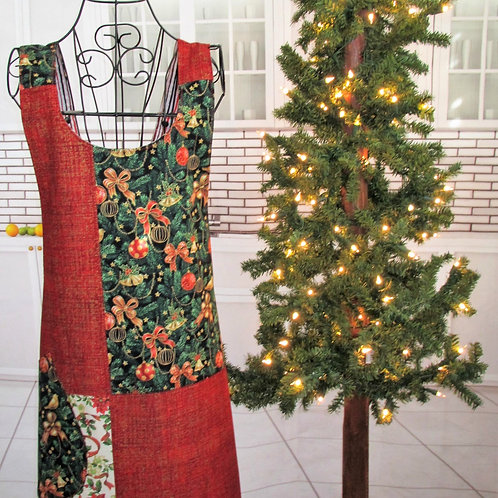 Red, Black & Green Holiday Reversible Smock Apron w/Adjustable Crisscross Straps