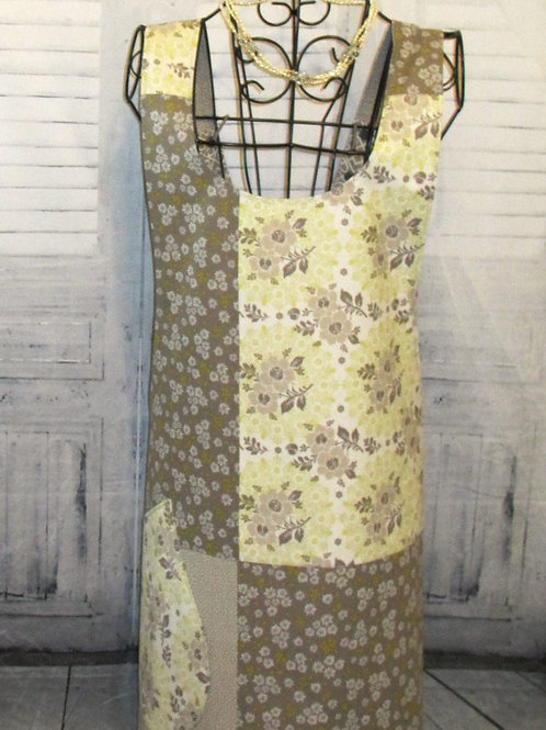 Yellow-Green w/Brown Reversible Smock Apron w/Adjustable Crisscross Straps