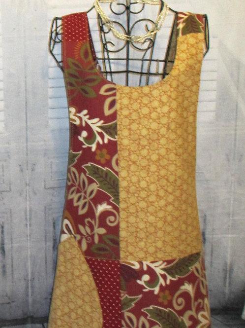 Gold & Red Reversible Smock Apron w/Adjustable Crisscross Straps
