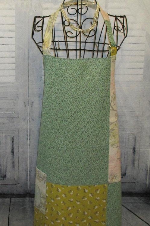 Teal & Green w/Birds Reversible Bib Apron w/Adjustable Neck Strap