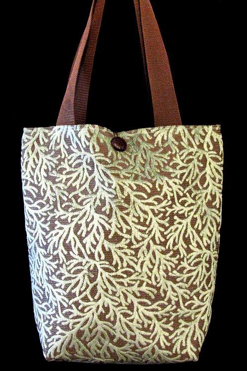 Brown & Light Blue Crushed Velvet Coral Design Tapestry Bag