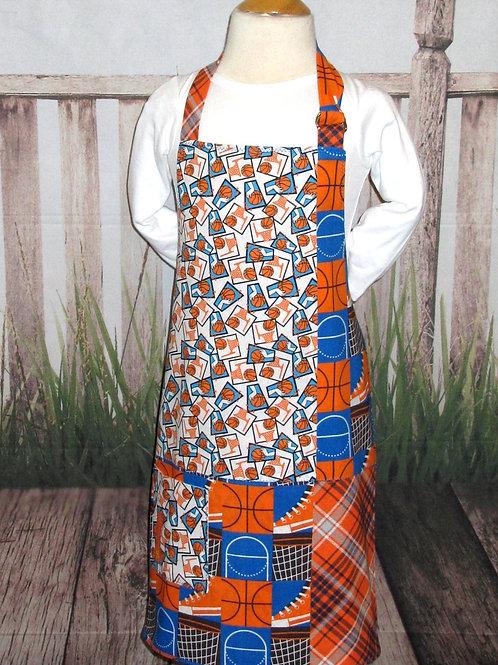Orange & Blue w/Basketballs Reversible Kids Bib Apron w/Neck Strap