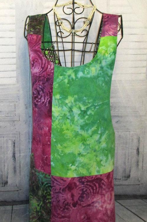 Magenta & Lime Green Batik Reversible Smock Apron w/Adjustable Crisscross Straps