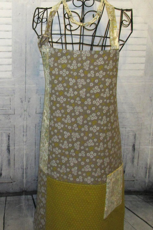 Olive Green & Gray Reversible Bib Apron w/Adjustable Neck Strap