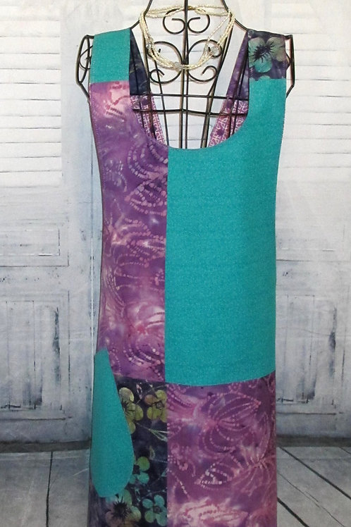 Purple/Teal/Magenta Batik Reversible Smock Apron w/Adjustable Crisscross Straps