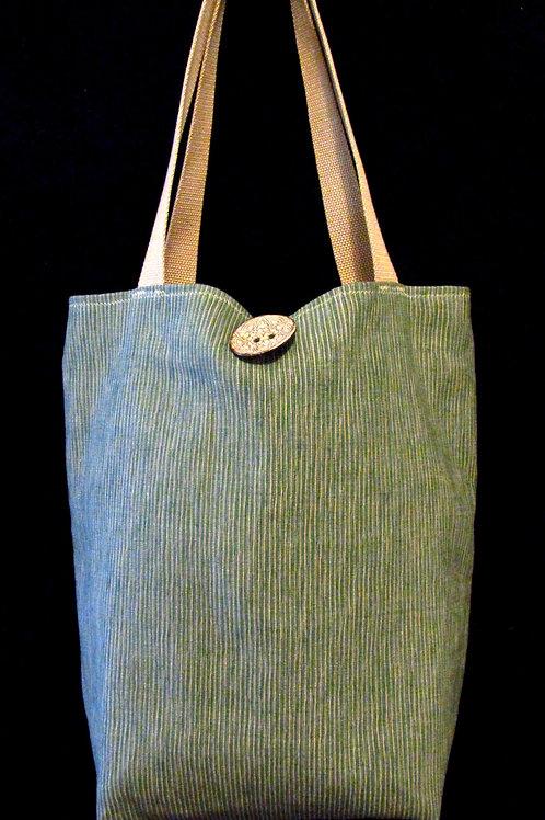 Dark Teal & Taupe Striped Tapestry Bag