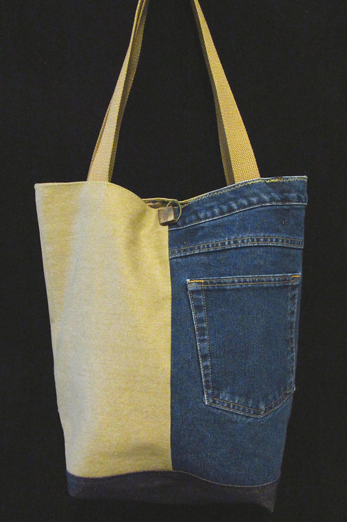 Tan & Navy Denim Jean Bag