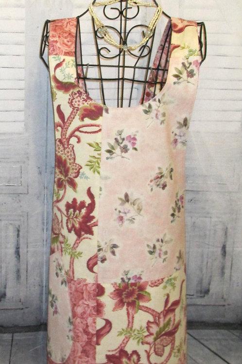 Rose & Green Flowered Reversible Smock Apron w/Adjustable Crisscross Straps