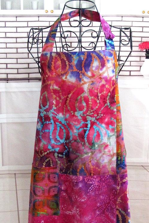Pink, Purple & Blue Batik Reversible Bib Apron