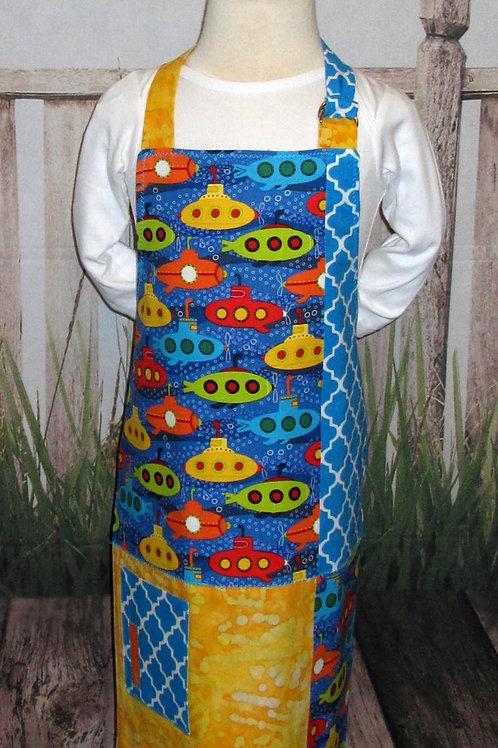 Yellow & Blue w/Submarines Reversible Kids Bib Apron w/Neck Strap