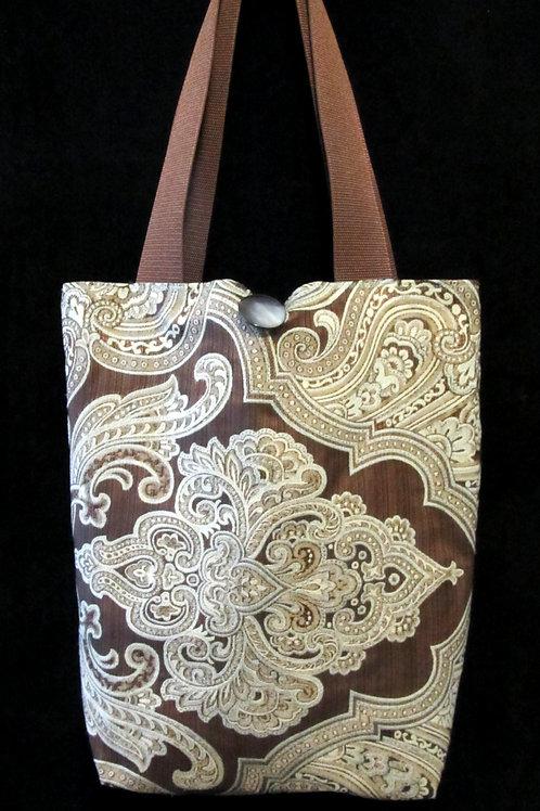 Light Blue & Brown Paisley Tapestry Bag
