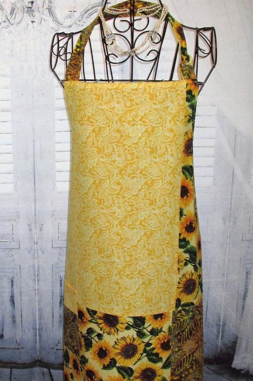 Yellow Sunflowers & Fall Batik Reversible Bib Apron w/Adjustable Neck Strap