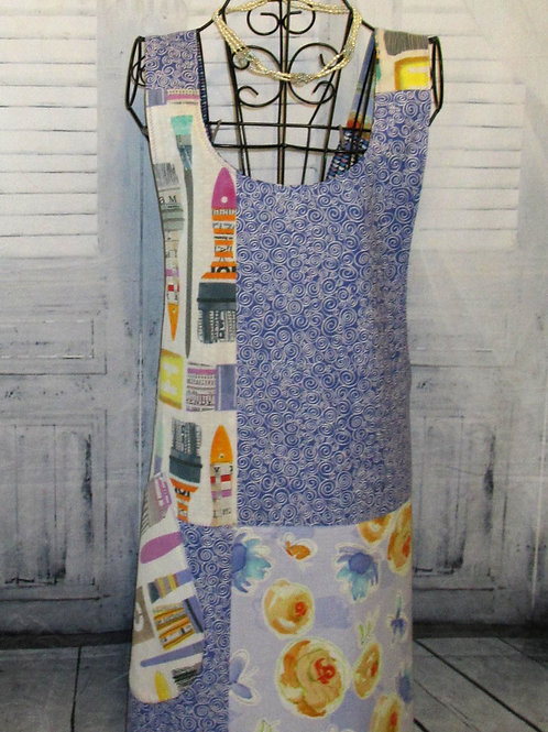 Purple with Paint Brushes Reversible Smock Apron w/Adjustable Crisscross Straps