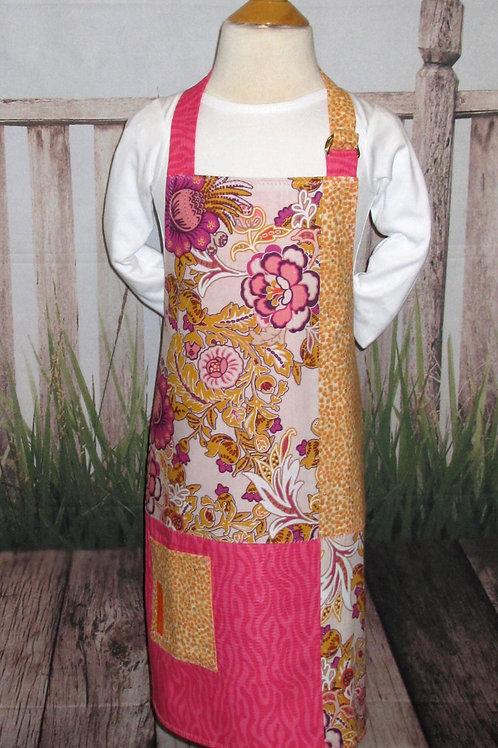 Gold & Hot Pink Flowered Reversible Kids Bib Apron w/Neck Strap