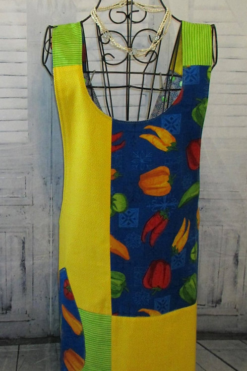 Yellow, Blue & Lime Green Reversible Smock Apron w/Adjustable Crisscross Straps