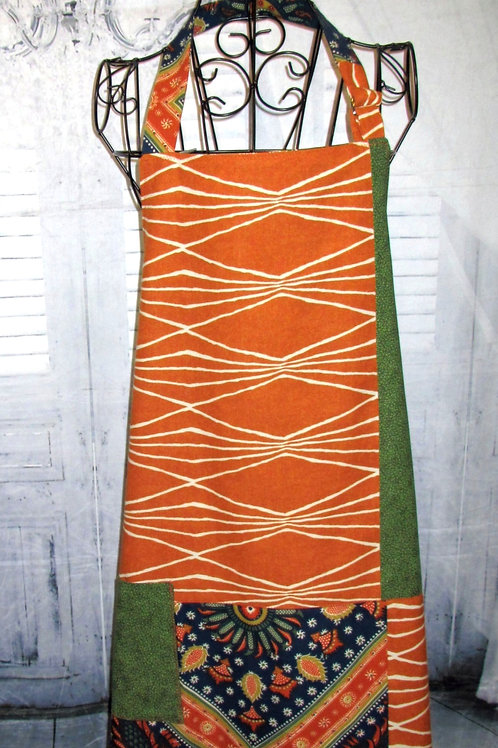 Rust, Green & Navy Reversible Bib Apron w/Adjustable Neck Strap