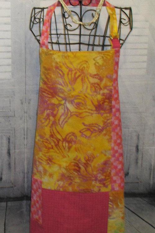 Pink & Yellow Batik Reversible Bib Apron w/Adjustable Neck Strap