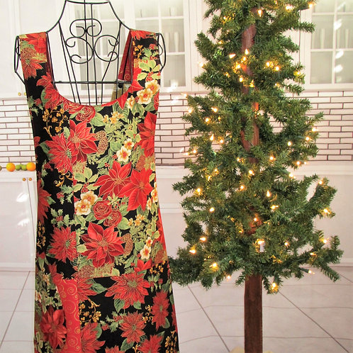 Black, Gold & Red Holiday Reversible Smock Apron w/Adjustable Crisscross Straps