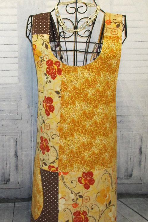 Gold, Brown & Red Reversible Smock Apron w/Adjustable Crisscross Straps