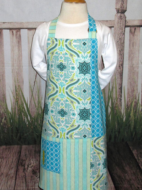 Turquoise & Light Green Reversible Kids Bib Apron w/Neck Strap