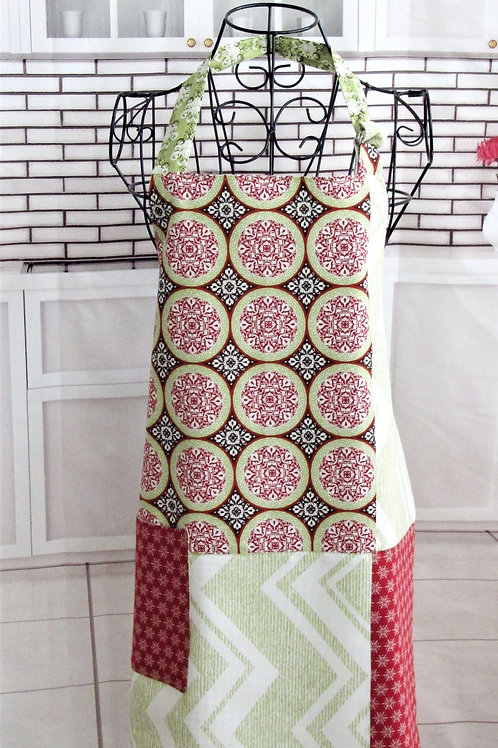 Lime Green, Red & Brown Reversible Bib Apron