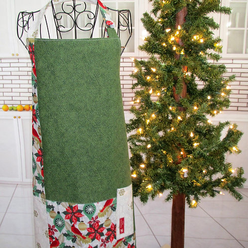 Green, Red & Gold Holiday Reversible Bib Apron w/Adjustable Neck Strap