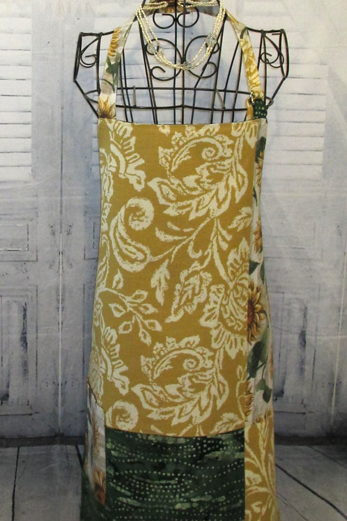 Gold & Green Sunflowers Reversible Bib Apron w/Adjustable Neck Strap