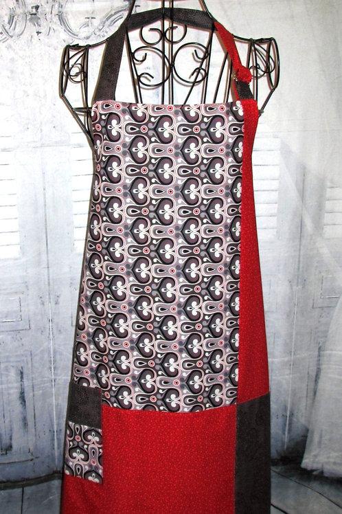Red, Black & Grey Reversible Bib Apron w/Adjustable Neck Strap