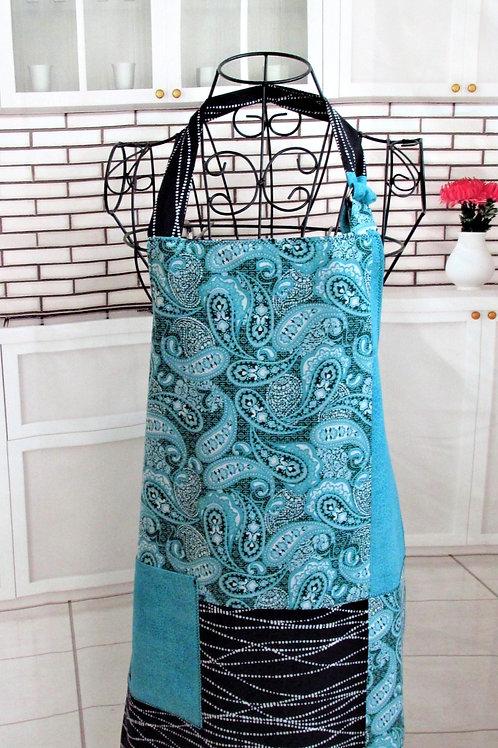 Turquoise & Black Paisley Reversible Bib Apron