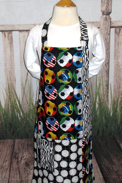 Black & White w/Balls Reversible Kids Bib Apron w/Neck Strap