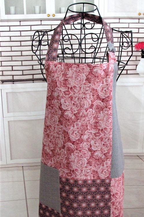 Mauve Roses, Gray & Black Reversible Bib Apron