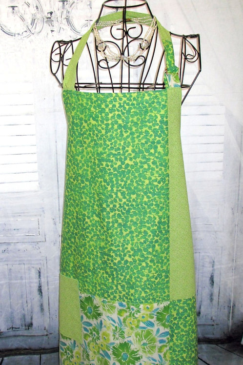 Lime Green with Turquoise Reversible Bib Apron w/Adjustable Neck Strap