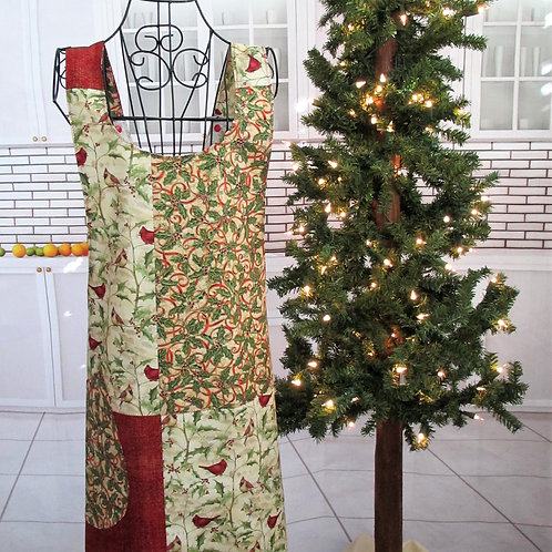 Gold & Red Holiday Reversible Smock Apron w/Adjustable Crisscross Straps