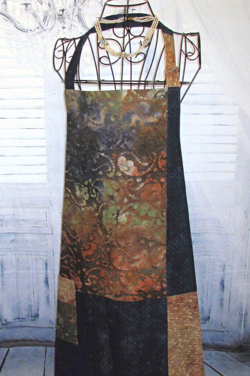 Navy, Rust & Tan Batiks Reversible Bib Apron w/Adjustable Neck Strap
