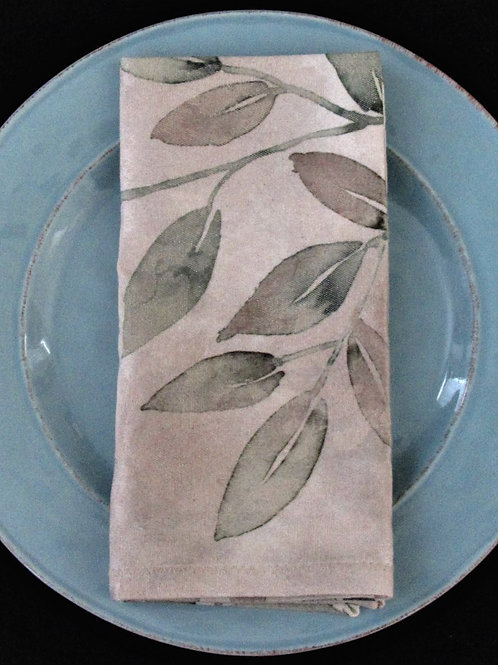 Green and Taupe Leaves Cloth Napkin