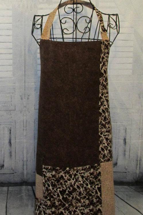 Brown & Tan Reversible Bib Apron w/Adjustable Neck Strap