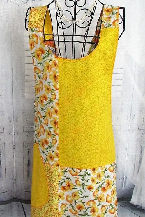 Yellow and Orange Reversible Smock Apron w/Adjustable Crisscross Straps