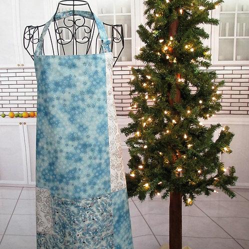 Light Blue, Silver & White Holiday Reversible Bib Apron w/Adjustable Neck Strap
