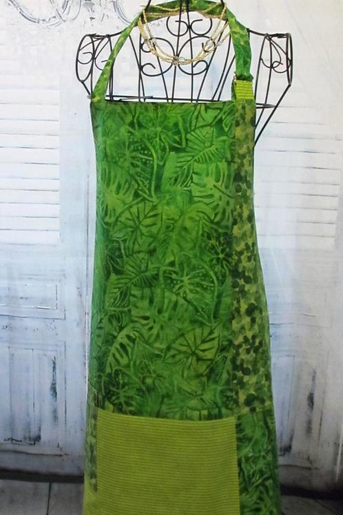 Lime Green Leaves & Sea Glass Reversible Bib Apron w/Adjustable Neck Strap