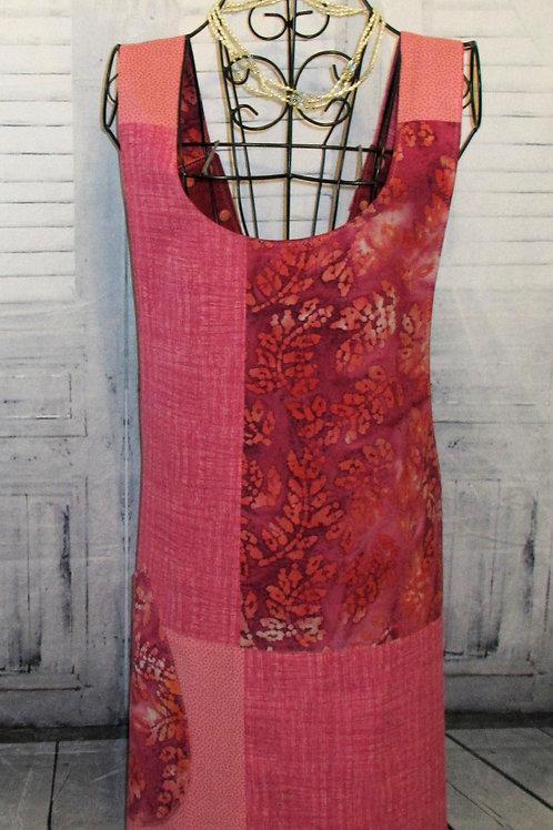 Pink & Burgundy Batik Reversible Smock Apron w/Adjustable Crisscross Straps