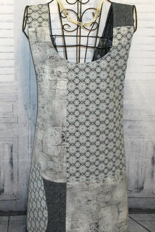 Black, Gray & Light Blue Reversible Smock Apron w/Adjustable Crisscross Straps