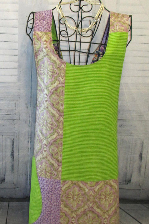 Purple & Lime Green Reversible Smock Apron w/Adjustable Crisscross Straps