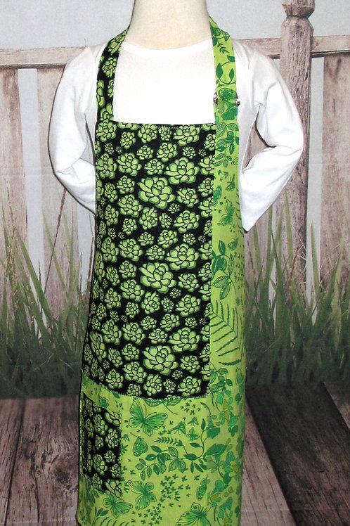 Green & Black Flowered Reversible Kids Bib Apron w/Neck Strap