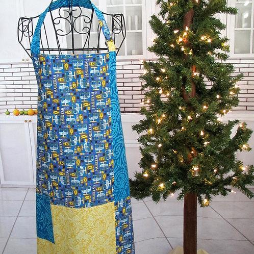 Blue & Yellow Holiday (Hanukkah) Reversible Bib Apron w/Adjustable Neck Strap