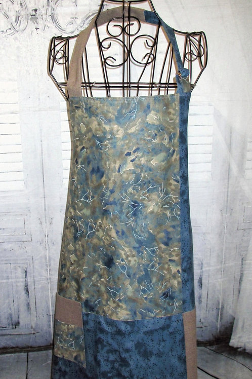 Blue & Taupe Marbled Fabric Reversible Bib Apron w/Adjustable Neck Strap
