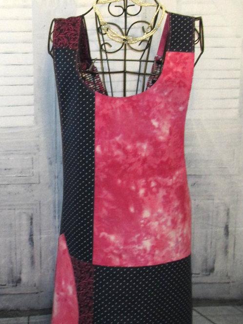 Navy Blue & Pink Reversible Smock Apron w/Adjustable Crisscross Straps