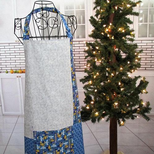 Blue & Silver Holiday (Hanukkah) Reversible Bib Apron w/Adjustable Neck Strap